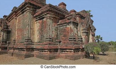 Gubyaukgyi Temple  in Bagan, Nyaung U, Burma. Facade detail.