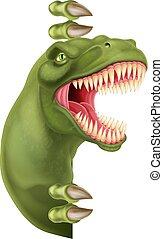 guckend, rex, zeichen, dinosaurierer, ungefähr, t, karikatur