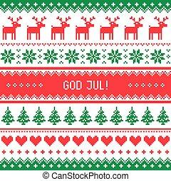 gud, -, jul, merry, mønster, jul