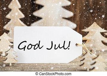 gud, jul, træ, etikette, jul, jul, sneflager, merry, betyder
