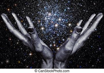 gud, räcker, holdingen, a, stjärna, galax