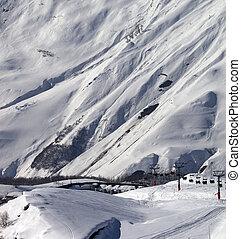 gudauri, ensolarado, recurso, esqui, dia, vista