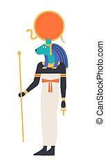 guddom, mytologiske, style., ancient, løvinde, sekhmet, -, religion, holde, væs, lejlighed hovede, ankh, symbol., illustration, egypt., læge, sachmis, sol, gudinde, farvet, vektor, mytologi, eller