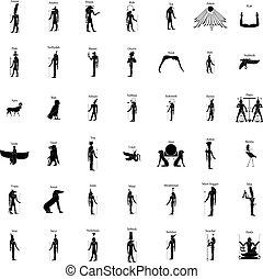 guder, sæt, silhuet, ægyptisk