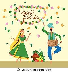 gudi, ugadi, hindú, pareja, saludo, celebrar, padwa, año,...