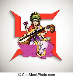 gudinde, festival, hindu, illustration, panchami, saraswati, baggrund, vasant