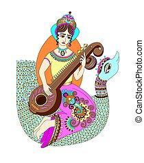 gudinde, hindu, hånd, saraswati, indisk, affattelseen