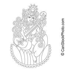gudinde, hindu, saraswati, indisk, sort, hvid, affattelseen
