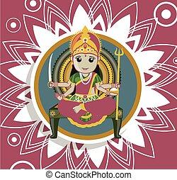 gudinde, puja, -, santoshi, indisk, mata