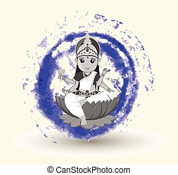 gudinde, saraswati, illustration