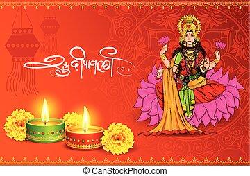 gudinde, siddende, lotus, diwali, indien, lakshmi, ferie, glade