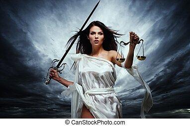gudinna, stormig, femida, rättvisa, vägar, sky, mot, ...