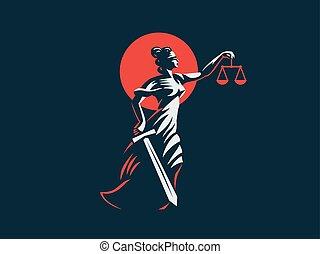 gudinna, themis, henne, rättvisa, vikter, svärd, räcker