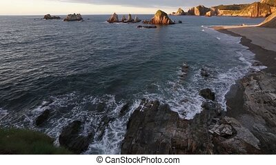 Gueirua beach at evening, Asturias, Spain. - Evening...