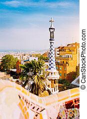 guel, turista, famoso, visitar, parque, más, barcelona,...