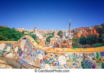 guell, バルセロナ, 公園, スペイン