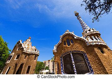 guell, 公園, -, バルセロナ, スペイン