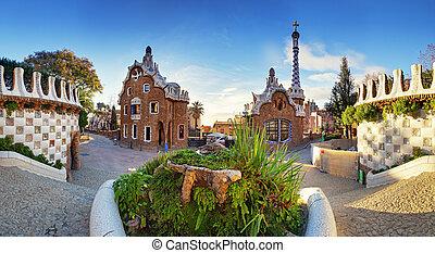 guell, 公園, バルセロナ, スペイン