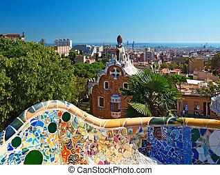 guell, barcelone, -, parc, espagne