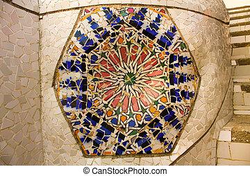 guell, gaudi, parc, barcelona, mosaic.