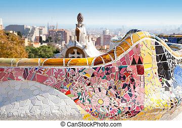 guell, gaudi, parque, barcelona, modernismo