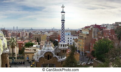 guell, parc, timelapse, barcelone, horizon, coup