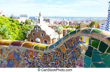 guell, parc, vistas, antoni, barcelona, diseñado, gaudi, ...