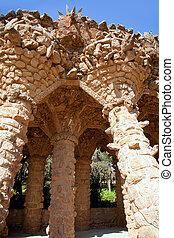 Guell, piedra, parque,  Barcelona,  Gaudi, Columnas