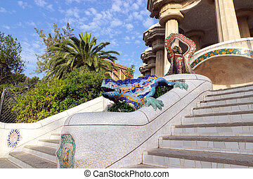 guell, spain., barcellona, parco