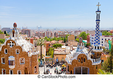 guell, stad parkera, barcelona, panorama