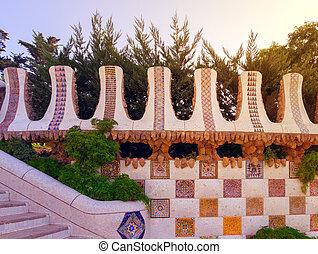guell, sten, parc, trädgård, vägg, barcelona, berömd, spanien, mosaik