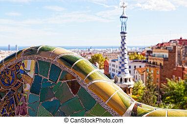 guell, vistas, diseñado, barcelona, spain., antoni, parc, ...