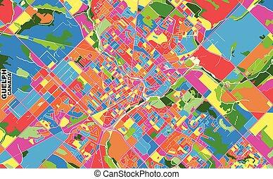 Guelph, Ontario, Canada, colorful vector map