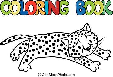 guepardo, poco, libro colorear