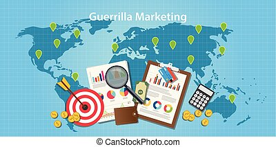 guerilla marketing concept with world map and graph  chart  goals target
