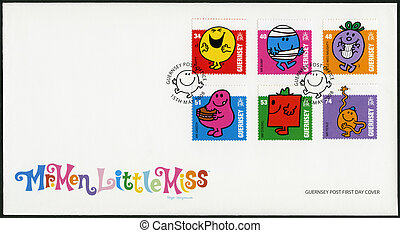 GUERNSEY - 2008: shows illustration Mr Men & Little Miss