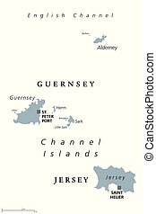 Guernsey and Jersey, Channel Islands, gray political map -...