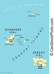 Guernsey and Jersey, Channel Islands, political map -...