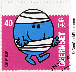 GUERNSEY - CIRCA 2008: A stamp printed in Guernsey shows mr bump, illustration Mr Men & Little Miss, circa 2008