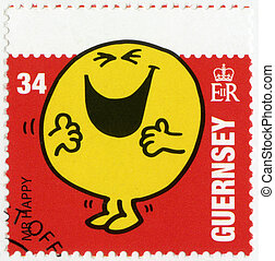 GUERNSEY - CIRCA 2008: A stamp printed in Guernsey shows mr happy, illustration Mr Men & Little Miss, circa 2008