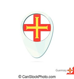 Guernsey flag location map pin icon on white background....