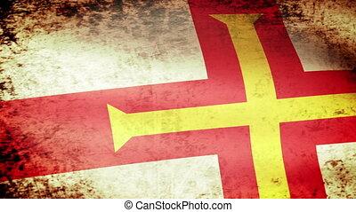Guernsey Flag Waving, grunge look