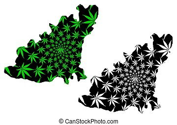 Guernsey - map is designed cannabis leaf
