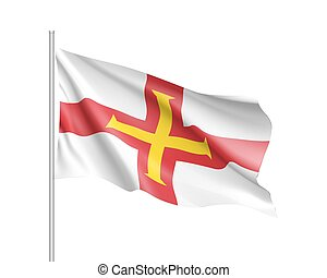 Guernsey national flag vector illustration - Waving flag of...