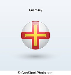 Guernsey round flag. Vector illustration.