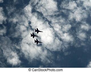 guerra, aviones, en, el, cielo azul