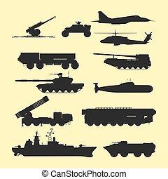 guerra, blindado, exército, armadura, pessoal, arma, portadores, sistema, camuflagem, technic, vetorial, tanques, militar, indústria, transporte, illustration.