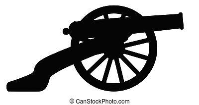 guerra, cannone, silhouette, americano, civile