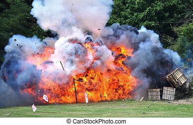 guerra civile, re-enactment, -, esplosione
