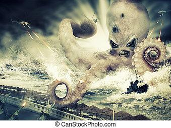 guerra, com, um, grande, monstro mar, -, polvo, estrangeiro